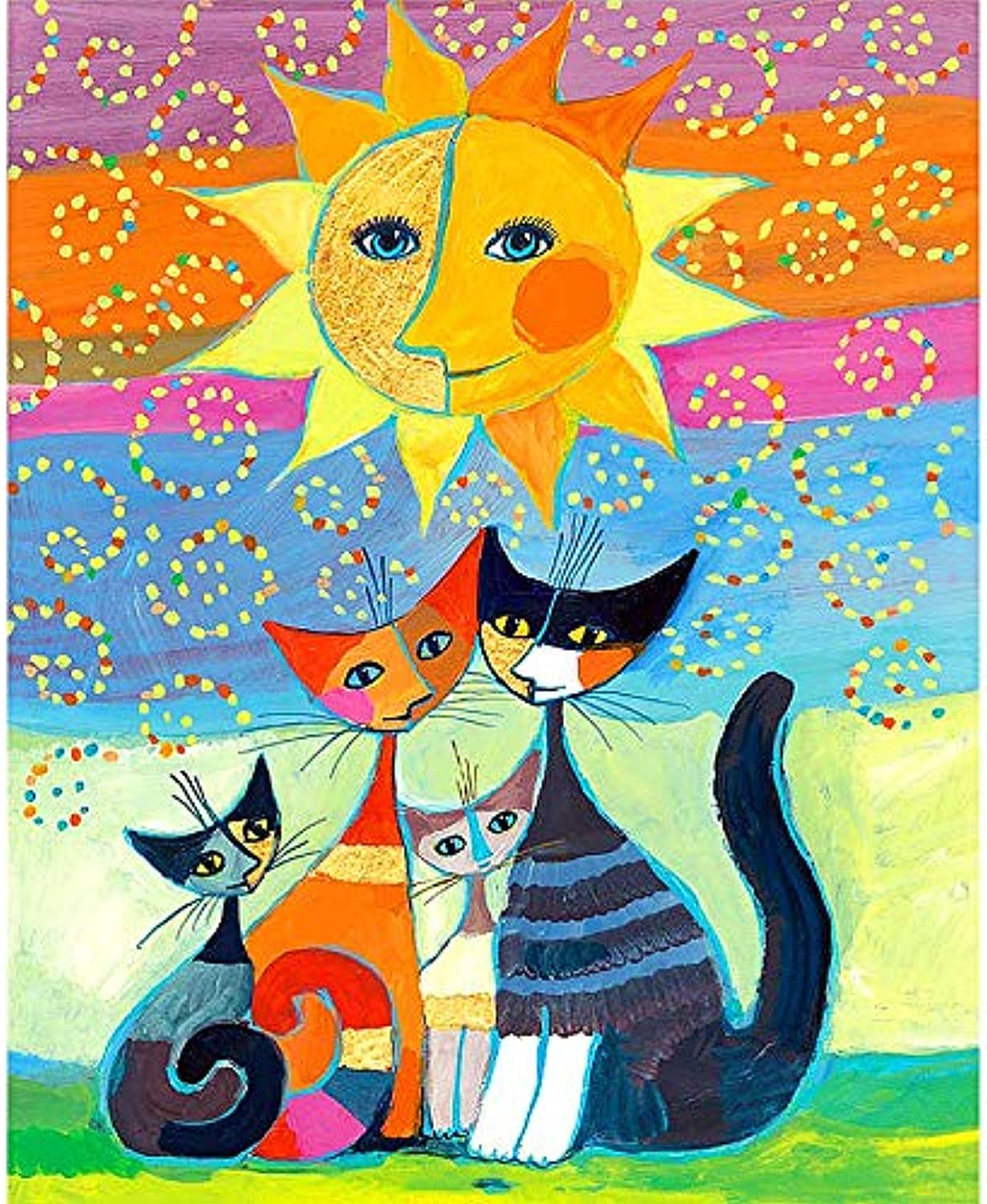 5D Diamond Painting Kit 5D Diamond Embroidered Plaster Embroidered Abstract Kitten Bedroom Painting Round Diamond Full Drill (Size   30x40)