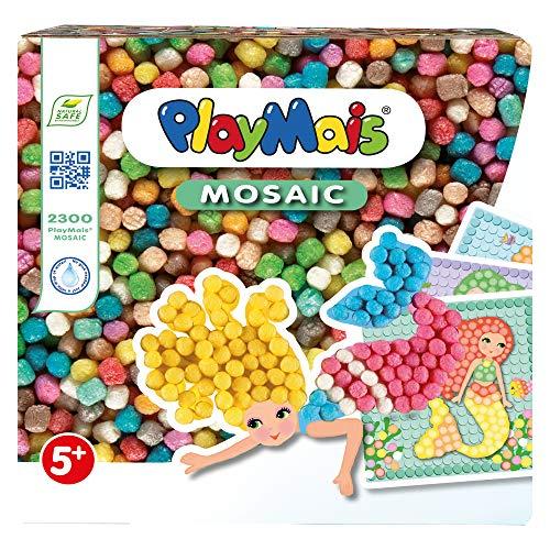 PlayMais MOSAIC Dream Mermaid Kreativ-Set zum Basteln für Mädchen ab 5 Jahren | Über 2.300 Stück & 6 Mosaik Klebebilder mit Meerjungfrauen | Fördert Kreativität & Feinmotorik | Natürliches Spielzeug