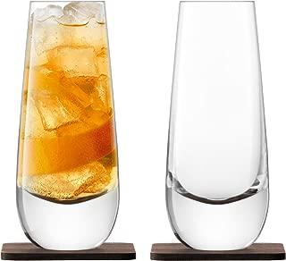 LSA International Whisky Islay Mixer Glass (2 Pack), 11 fl. oz., Clear/Walnut