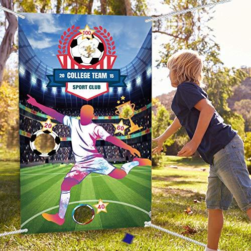 Juegos de Lanzamiento, Juegos de Lanzamiento con Bolsas de Frijoles al Aire Libre en Interiores para Niños Adultos, Juego de Lanzamiento de Fútbol, Decoraciones para Fiestas Temáticas de Fútbol