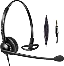 Cell Phone Headset with Noise Canceling Mic with in-line Volume Control and Mic Mute 3.5mm Headset Over The Head for Apple iPhone Samsung BlackBerry and Most Other Androids Mobiles