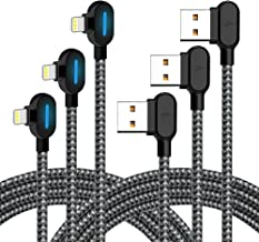 Smart iPhone Charger - 90 Degree Right Angle Gamer LED Nylon Braided Sync Charge USB Data Cable Compatible with iPhone/iPad Pro/Air,iPad Mini,iPod (Black Gray, 6FT)