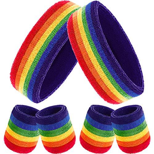 Bememo 6 Stück Gestreifte Schweißbänder Set, Enthält 2 Stück Sport Stirnband und 4 Stück Armbänder Schweißbänder Bunte Baumwolle Gestreiften Schweißband Set für Männer und Damen (Regenbogen Farbe)