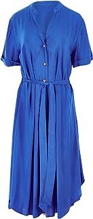 Belle Bird Womens Knee Length Dresses Belle Button Dress Blue - Dresses