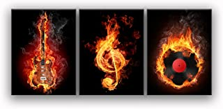 Music Wall Art Fire Guitar Abstract Canvas Prints Home Decor for Living Room Bedroom Modern Black and Red Pictures 3 Panel Posters Printed Painting Artwork Framed Ready to Hang (12