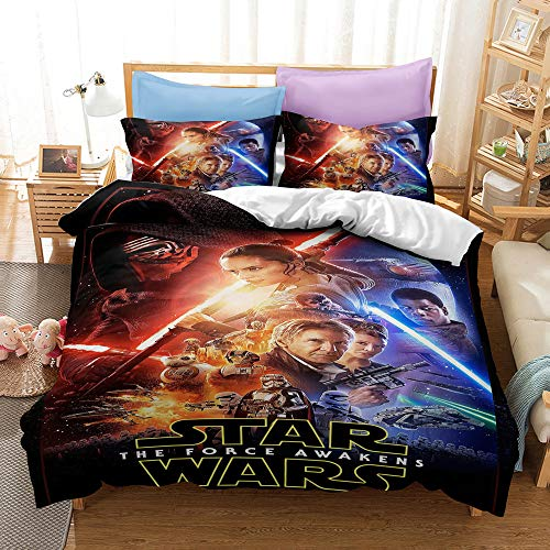 Enhome Duvet Cover Bedding Set for Single Double King Size Bed, 3D Sci-fi Movies Characters Printing Microfiber Duvet Set,with Quilt case and Pillowcases (200x200cm,STAR WARS 1)
