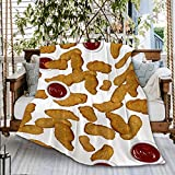 Chicken Nuggets Sofa Throw Blanket Flannel Super Soft Fleece Bedspread Home Decor All Season for Bed Couch Living Room Small 50x40Inch Throw Kids