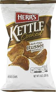 Herr's Kettle Cooked Potato Chips- Ripple Cut, Dark Russet, Cracked Pepper or Boardwalk Salt & Vinegar (Dark Russet, 4 Bags)