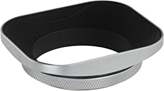 Haoge 49mm Universal Square Metal Screw-in Mount Lens Hood Shade for 49mm Canon Nikon Sony Leica Leitz Voigtlander Nikkor Panasonic Pentax Contax Olympus Lens and Other 49mm Filter Thread Lens Silver