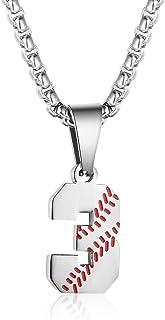 TLIWWF الهام بخش بیس بال Jersey Jersey گردنبند استیل ضد آویز شماره آویز شماره آویز مخصوص پسران مردان