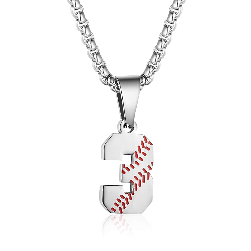 TLIWWF Inspiration Baseball Jersey Number Necklace Stainless Steel Charms Number Pendant for Boys Men