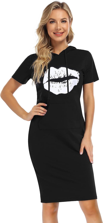 MISSKY Women's Casual Sweatshirt Print Lips Pocket Pullover Hoodie Dress