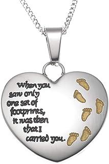 Joyful Sentiments Footsteps in The Sand Heart Pendant Necklace