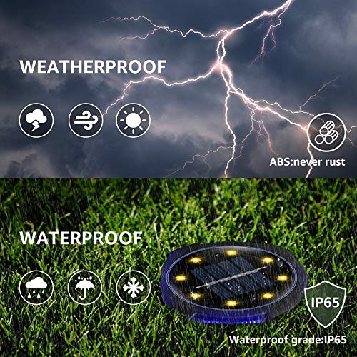 ZONGOOL Solar Ground Lights, 8 LED Disk Lights Solar Powered Waterproof In-Ground Lights for Garden, Lawn, Pathway, Walkway, Deck, Yard (8 Packs, Warm+Blue)