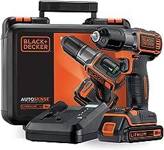 Black+Decker Autosense ASD18K Accuschroefboormachine met Autoselect-technologie en led-werklamp voor boren in hout en meta...