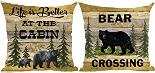 ramirar Set Of 2 Life Is Better At The Cabin Bear Crossing Forest Trees Field Retro Brown Wood Decorative Throw Pillow Cover Case Cushion Home Living Room Bed Sofa Car Cotton Linen Square 18 x 18 Inch