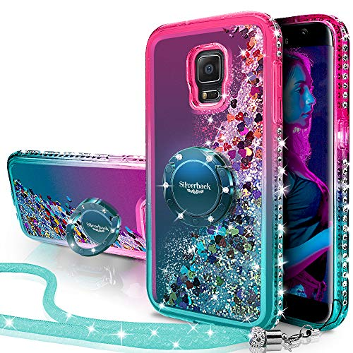 Galaxy Note 4 Case, Silverback Moving Liquid Holographic Sparkle Glitter Case with Kickstand, Bling Diamond Rhinestone Bumper W/Ring Slim Samsung Galaxy Note 4 Case for Girls Women -Green