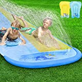 Pomeat 20ft x 62in Slip and Slide Water Slide with 2 Bodyboards, Shark Water Slip Slide for Kids with Sprinkler, Outdoor Summer Water Toy for Backyard, Lawn, Garden, Summer Water Party