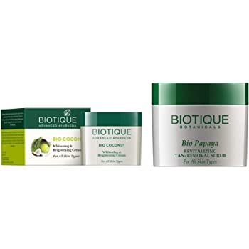 Biotique Bio Coconut Whitening And Brightening Cream, 50g And Biotique Bio Papaya Revitalizing Tan Removal Scrub, 75g