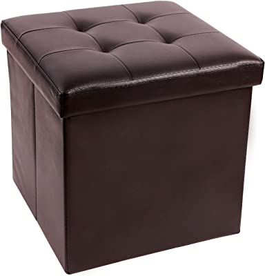 """CAMPMAX 15"""" High Faux Leather Ottoman Cube with Storage, Sturdy Foldable Small Ottoman Foot Rest, Brown"""