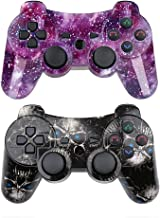 PS3 Controller Wireless SIXAXIS Double Shock Gamepad for Playstation 3 Remote, 2 Pack with PS3 Controller Charger Cable (Black Ghost+Starry Sky)