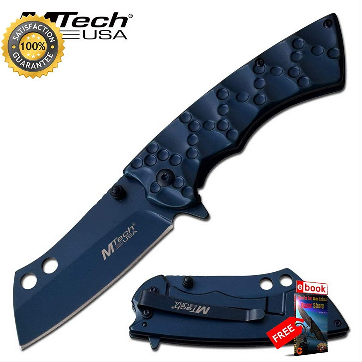 SPRING ASSISTED Folding Sharp KNIFE Mtech 3.25'' Sheepsfoot Blue Cleaver Blade Tactical Combat Tactical Knife + eBOOK by Moon Knives