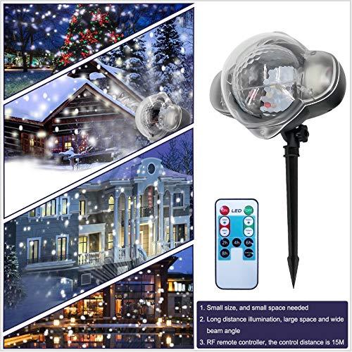 Wiiguda@ Luce di Caduta della Neve Impermeabile Proiettore Natale LED di Fiocchi di Neve Bianchi Lampada di Neve Spotlight Rotazione Lampada Decorazione per Halloween, Natale, Festa, Patioo, ecc