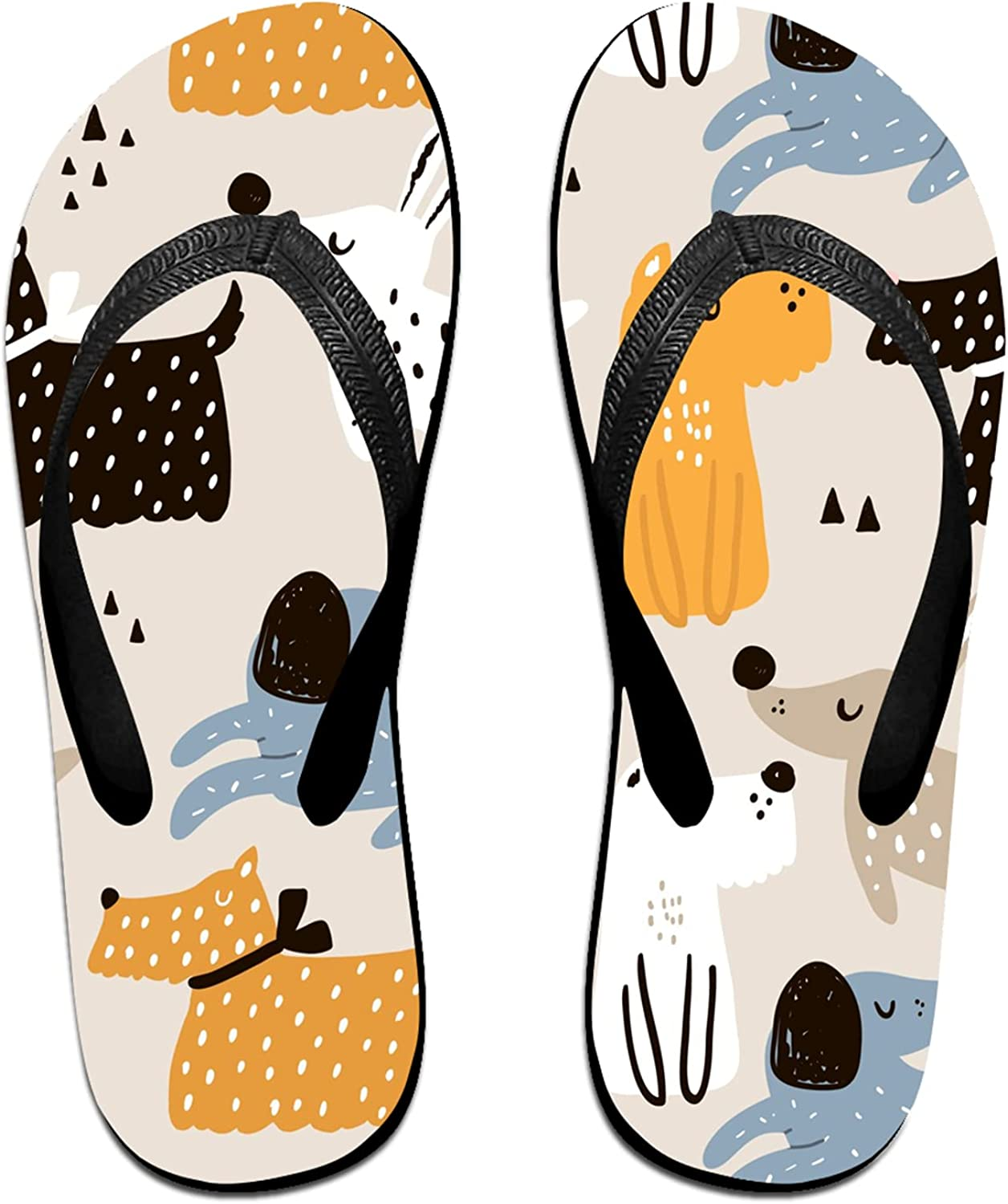 Women's Men's Max 62% OFF Flip Flop Slippers Hand Max 42% OFF Adults Classi Drawn Dogs
