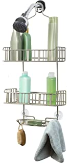 Richards Homewares Royal E 3-Tier Shower Bathtub Caddy for Over The Showerhead-No Assembly Required – Rustproof-Elegant Satin Nickel Finish – Bathroom Accessory