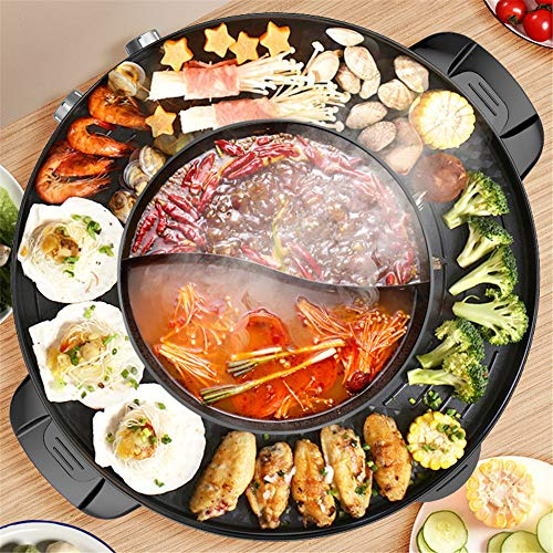 PaNt Elektrischer Grill Hot Pot Elektrische Backform Elektrischer rauchfreier Grill und 2 in 1 Hot Pot Indoor mit Antihaft-Pfanne und Split-Design Backblech, leicht zu reinigen, schnell erhitzt