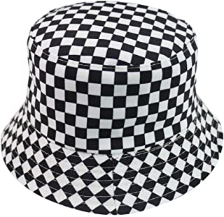Bucket Cap Double-Sided Harajuku Black and White Lattice Fisherman Hat Ladies Casual Sun Hat Male Street Tide Basin Hat Hip Hop Hat