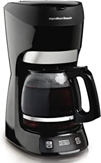 Hamilton Beach 12 Cup Programmable Coffee Maker with Digital Clock and Cone Filter, Auto Shut Off (49467), Black