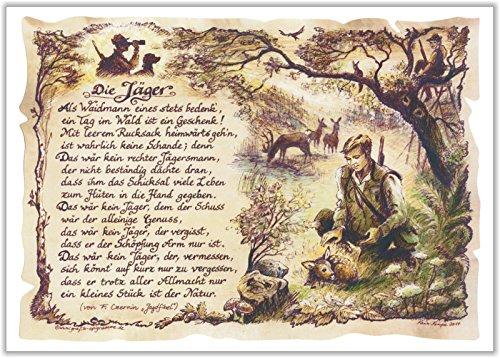 Die Staffelei Geschenk Jäger Neu Waidmann Jägersmann Gedicht Zeichnung Color 30 x 21 cm