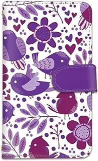 [bodenbaum] OPPO R15 Neo R15Neo 手帳型 スマホケース カード スマホ ケース カバー ケータイ 携帯 OPPO オッポ オッポ アールフィフティーン ネオ SIMフリー 花柄 小鳥 ハート f-103 (B.パープル)