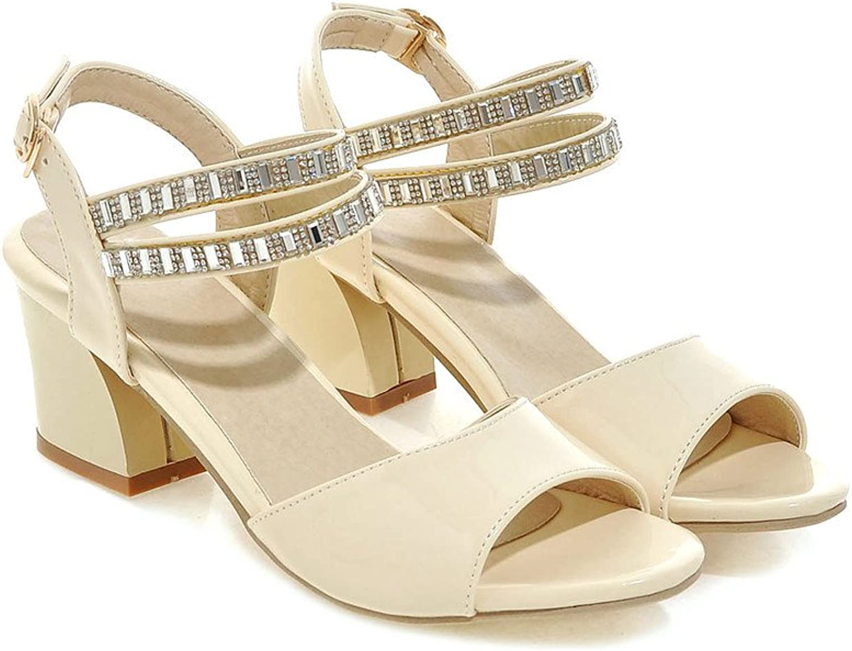 AIWEIYi Womens Rhinestone Chunky High Heels Dress Sandals Pink