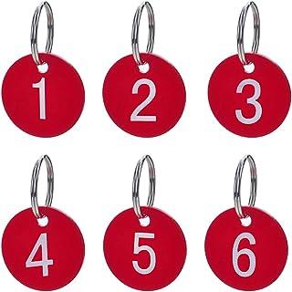 comprar comparacion Aspire Etiquetas numeradas con Llavero Etiquetas Acrílicas para la organización y clasificación 50 Paquetes Rojo 1 to 50
