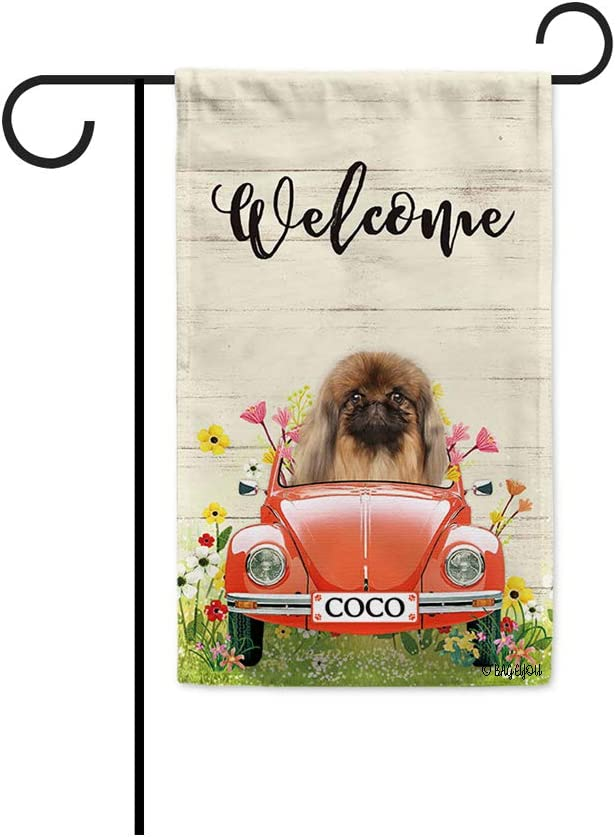 BAGEYOU Custom Name Welcome Spring Dog Garden Flag Pekingese Driving a Vintage Car Summer Flowers and Lawn Decor Home Banner for Outside 12.5x18 Inch Print Both Sides