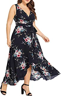 Women Plus Size Sleeveless Dresses Ladies Summer Floral Dresses Casual V Neck Elegant Hem Midi Sundress for Party/Beach