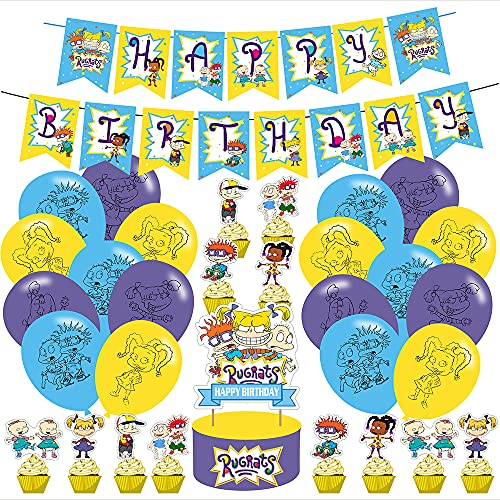R-u-g-r-a-t-s Party Decorations, Birthday Party Supplies For R-ogrets Includes Banner - Cake Topper - 12Cupcake Toppers - 18 Balloons