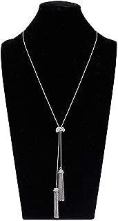 Long Tassel Pendant Necklace Y Shaped Lariat Necklaces Adjustable Slide Necklace for Women