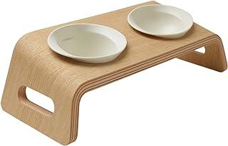 KARIMOKU CAT TABLE カリモク家具 日本製 猫用 食べやすい食器 磁器 皿 フード 水 ボウル (ホワイト&ピュアオーク)