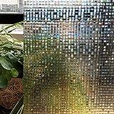 Vinilo Ventana Privacidad, Adhesivos Decorativos para Ventanas Ventana autoadhesiva de Vinilo Opaco Translúcido Uso Anti UV para baño Cocina Oficina(Pequeño Mosaico 3D)(46_x_200_cm)