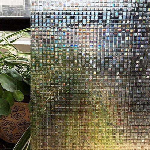HW raamfolie elektrostatisch beschermd vinyl antivriesfolie sticker glas raamsticker voor kantoor huis badkamer slaapkamer keuken (kleine mozaïek 3D) 46_x_200_cm