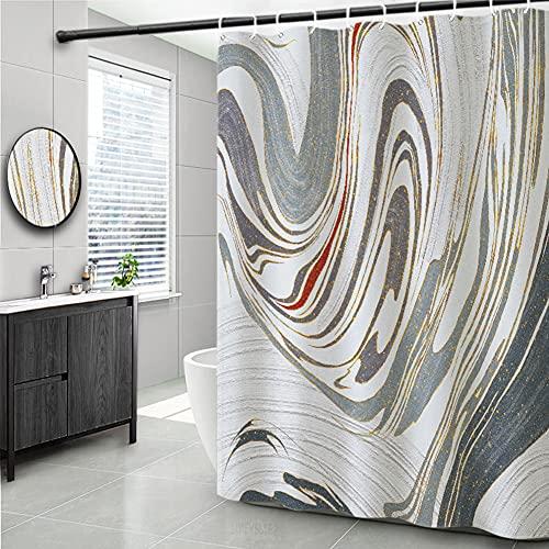 Moderner Grauer Tinten-Abstrakter Muster Duschvorhang 180x200 (cm), Wasserdichter Textil Badezimmervorhang mit Haken; Anti-Bakterien und Anti-Schimmel Badezimmer Dekoratives Zubehör, Maschinenwaschbar