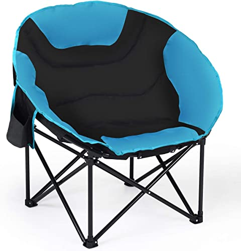 wholesale Giantex Folding Camping Chair Moon Saucer Chair Lightweight Sofa Chair Round 2021 Beach Chair with Soft Padded Seat, Cup Holder, Back lowest Bag and Metal Frame Chairs for Hiking, Camping, Fishing or Picnic online