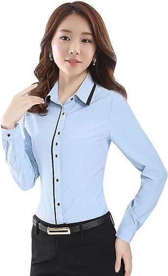Blusa de Manga Larga para Mujer, Camisa de Oficina, Camisa ...