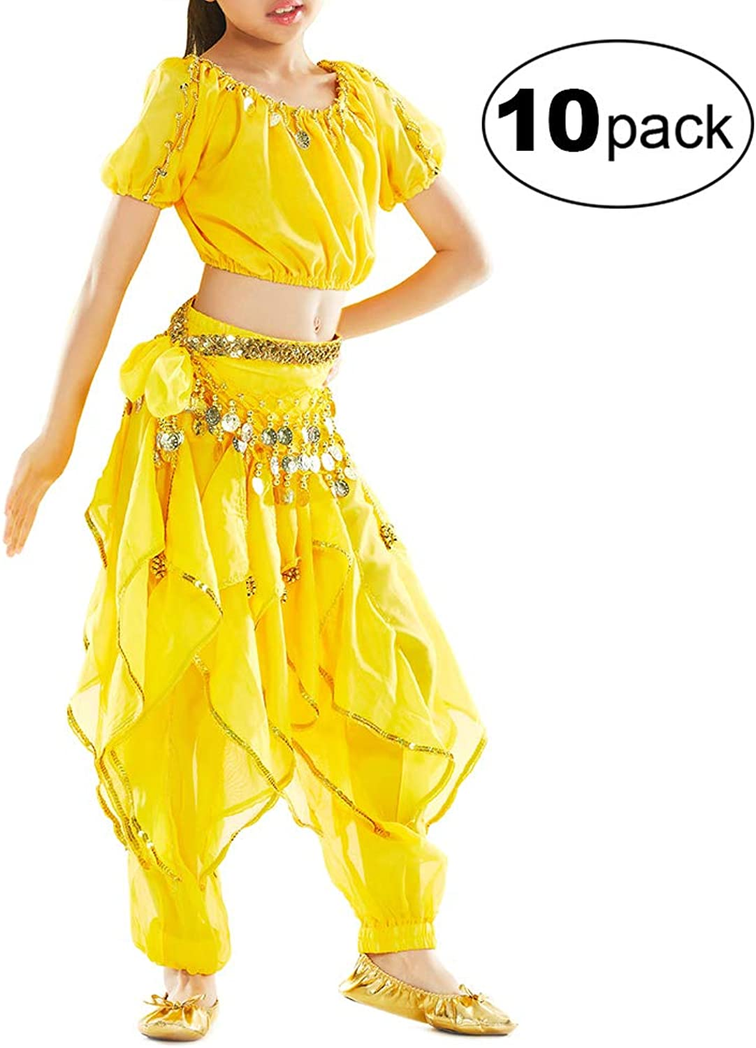 TOPTIE 10 Pack Kids Belly Dance Costume, Harem Pants & Top For Halloween