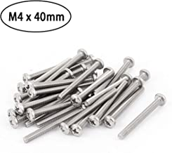 50 Pcs M4 x 40mm 304 Stainless Steel Phillips Round Pan Head Machine Screws Use for Cabinet Drawer Pull Handle, Metric Fine Thread.