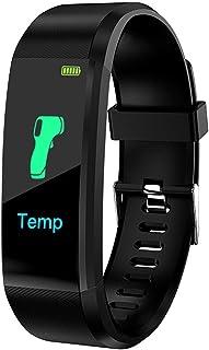 JINQII Monitor de frequência cardíaca de relógio inteligente, IP67 à prova d'água, rastreador de atividades, medição de te...