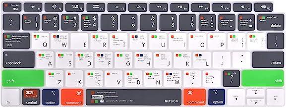 MOSISO Keyboard Cover سازگار با جدید MacBook Air 13 اینچ 2019 2018 نسخه A1932 با صفحه نمایش شبکیه چشم و لمسی ID ، ضد آب ضد گرد و غبار محافظ سیلیکون پوست ، میانبر Mac OS X ، خاکستری